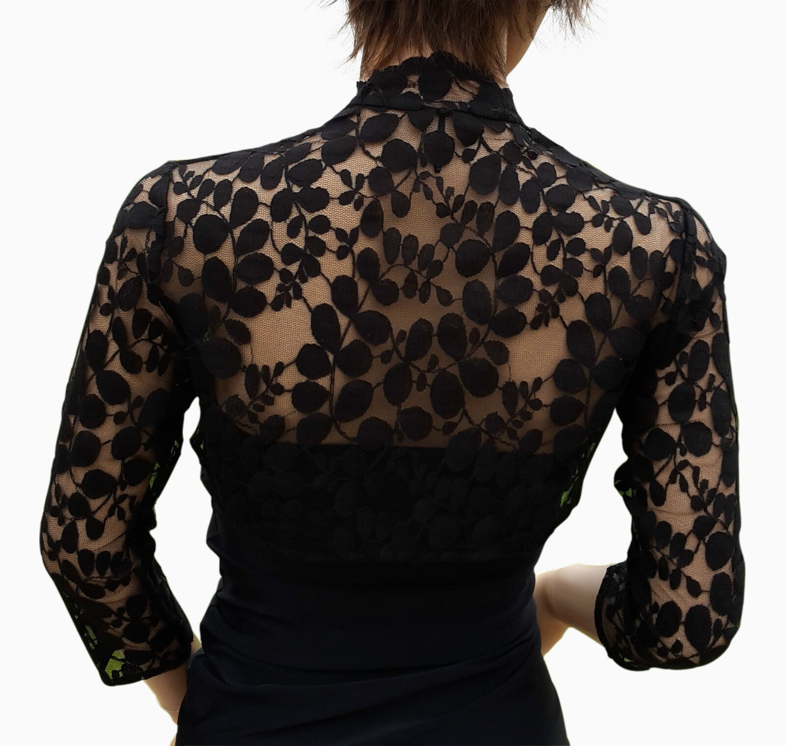 Womens black leaf design lace 3 4 sleeve bolero jacket for Designer bolero