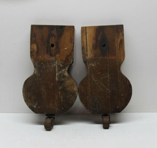 Lot of 2 Antique Vintage Wood & Metal Swivel Caster Wheels on Mounting Blocks