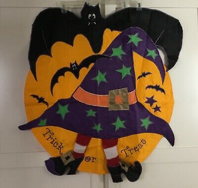 "Halloween Flag TRICK OR TREAT Bats w/Pumpkin & Witch 36"" x 38"" Nylon  Brand New - Make Halloween Hanging Bats"