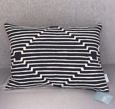"KAS Room 13"" x 18"" South Hampton Throw Pillow Navy with White Stitching"
