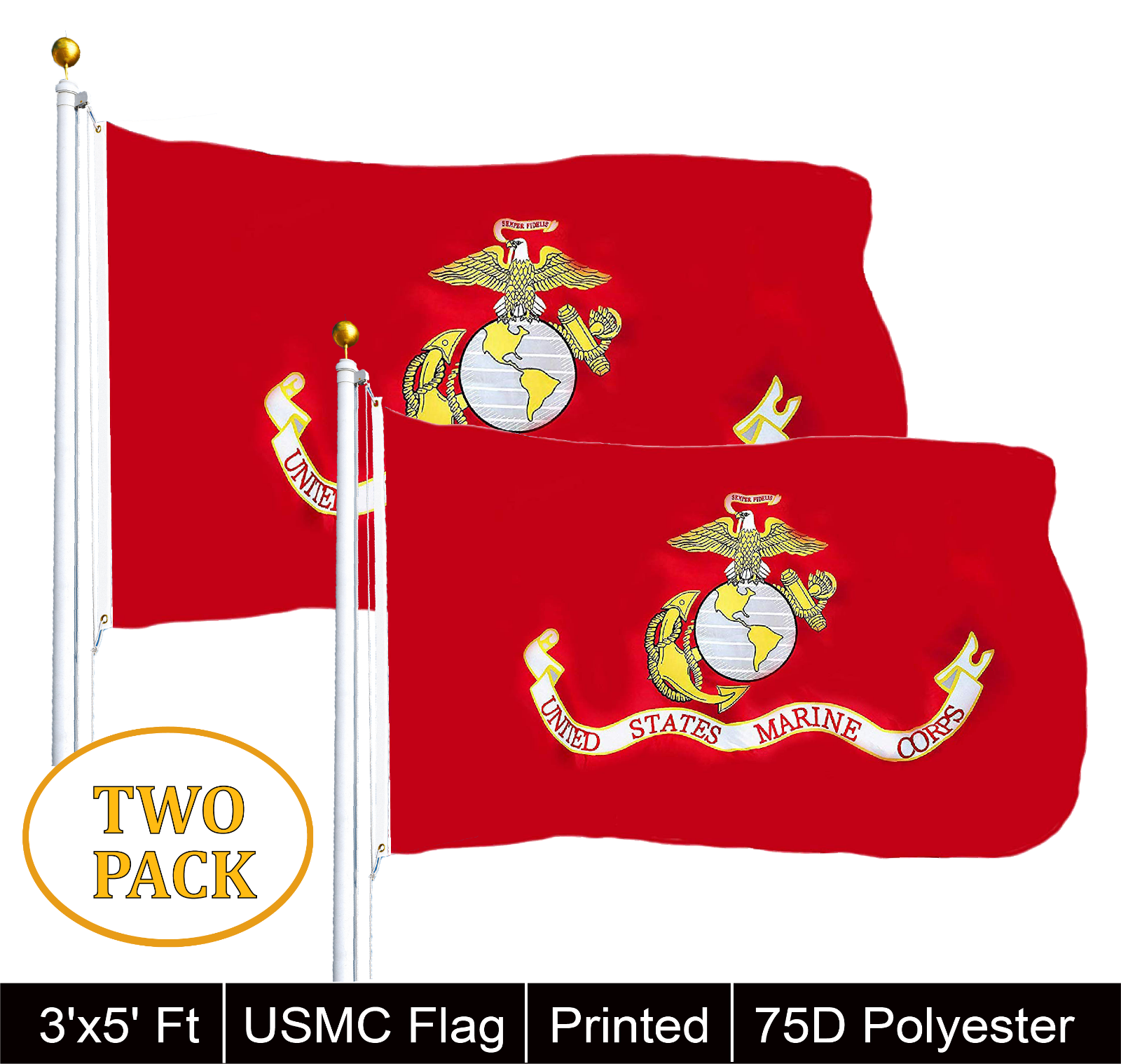 G128® TWO PACK of USMC United State Marine Corps Flag 3 X 5