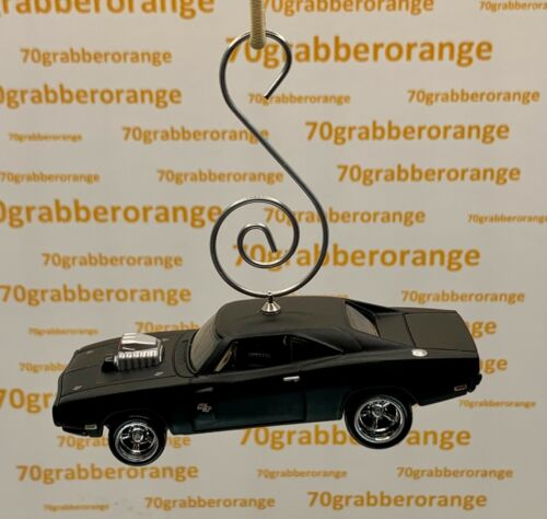 1970 Flat Black Dodge Charger R/T rubber tires Christmas Ornament