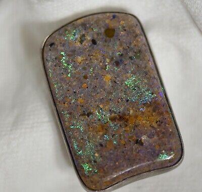 Sterling Silver ,Louisiana Opal ,Hand Made Rectangle Belt Buckle U S A Made Opal Belt Buckle