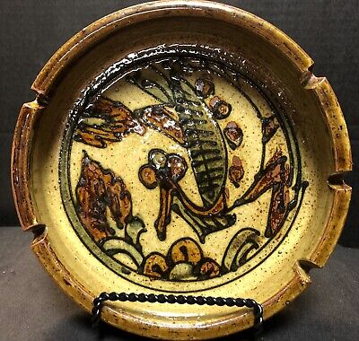 Vintage ceramic stoneware 5 cigarette ashtray Earth Tones/ Green/browns, MCM