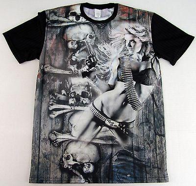 Sin City Bikini Bandit Girl Sublimation T-shirt Skull Gun Tee Adult   New (Bikini Painted T Shirts)