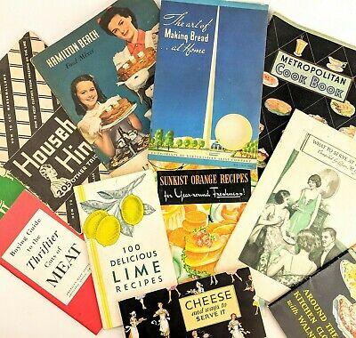 Lot of (11) Vintage Antique 1920's - 1940's Cook Books Booklets/Pamphlets