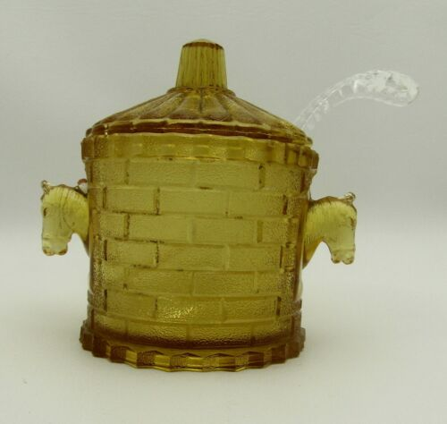 Rare Antique Adams & Company 1886-1891 Amber Glass Horse Horseradish Jar #5