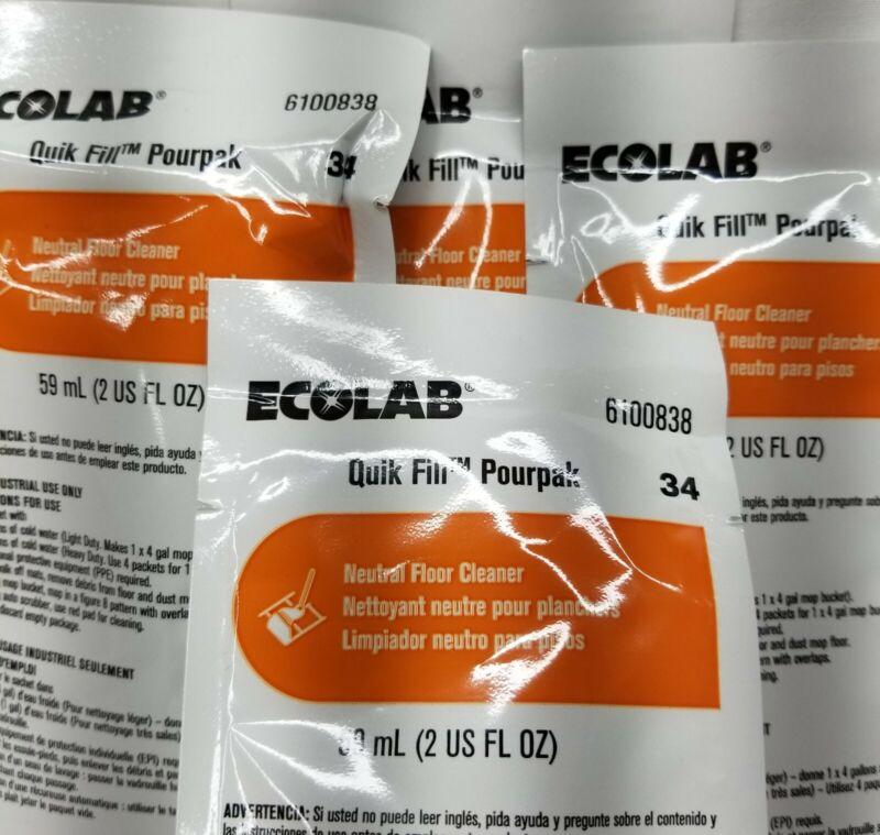(4) Ecolab 6100838 Pourpak Neutral Floor Cleaner 2 oz each - New