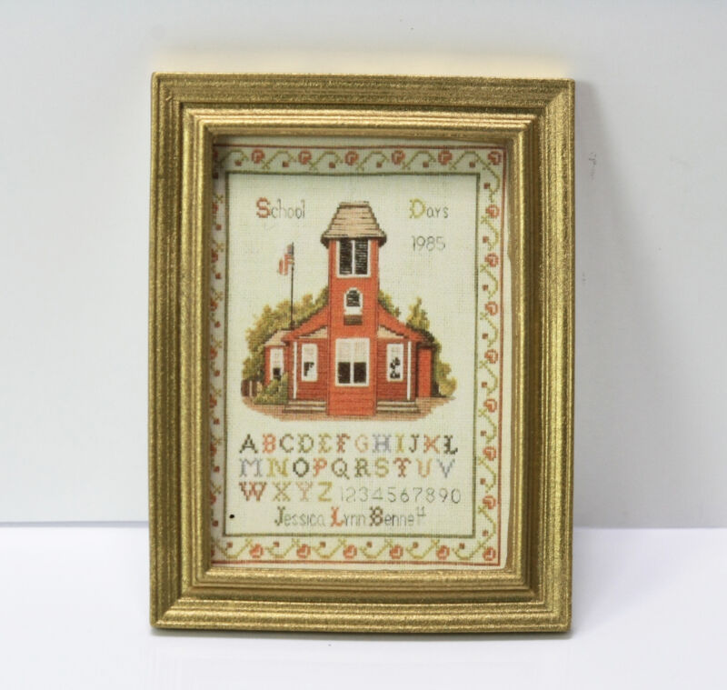 Dollhouse Miniature Gold Framed Sampler Print of School Days