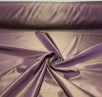 LUXURIOUS VIOLET 2TONE TAFFETA FR CURTAIN UPHOLSTERY FABRIC 15 METRES