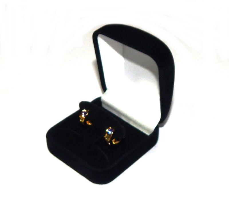 6 Hoop or Post Earring Black Velvet Gift Boxes Jewelry Display