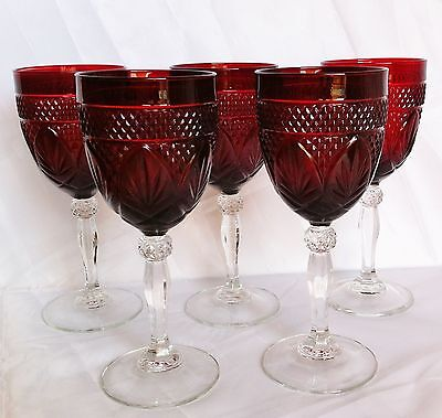 5 CRISTAL D'ARQUES ANTIQUE FRENCE RED RUBY CLEAR STEM WINE WATER GLASSES 10 OZ