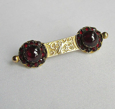 Old antique Victorian 9ct gold garnet gemstone brooch