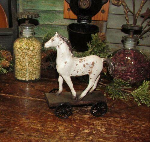 Primitive Antique Vtg Style Country Farm Stallion Horse Pony WHEELS Shelf Sitter