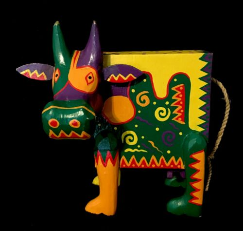"Colorful Folk Art Wood Cow 6"" Piggy Bank Handmade Painted Bright Unique Fun"