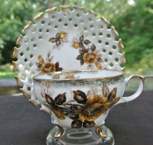 Vtg Iridescent Napco Hand Painted Yellow Roses Cup and Reticulated Saucer