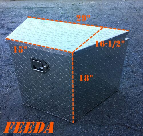 Aluminum Tongue Tool Box Truck Trailer Diamond Plate Storage Towing Tractor Bed