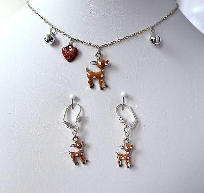 Reh Kinderketten Set Trachtenschmuck Ohrringe mit Kette Weihnachtsgeschenk Neu