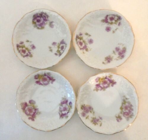 Set of 4 Orchid Floral Butter Pats or Miniature Plates