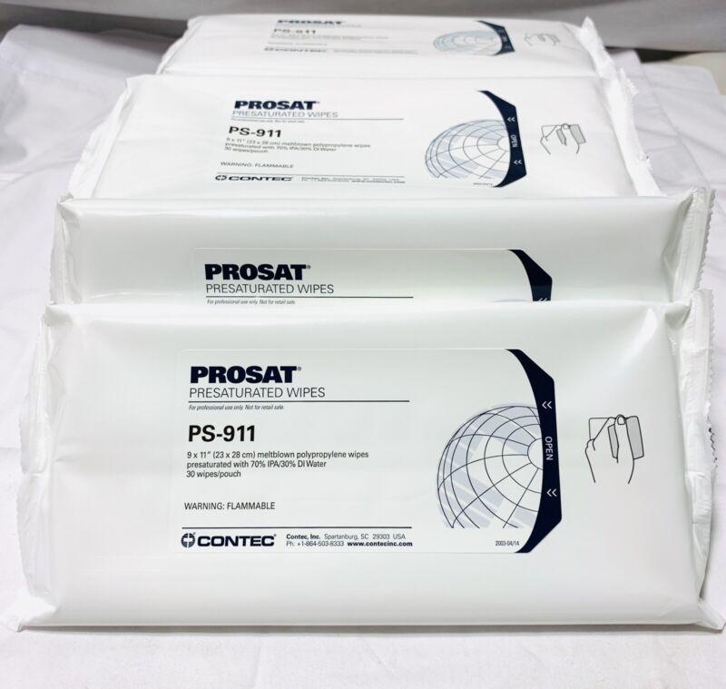 10x CONTEC PROSAT Presaturated Wipes PS-911 ~ 30 Per Pack ~ 300 Wipes Total
