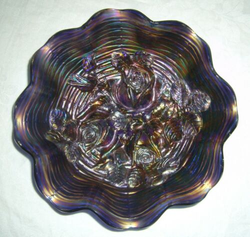 ANTIQUE NORTHWOOD BLUE ROSE SHOW CARNIVAL GLASS RUFFLED BOWL W/ RESTORATION