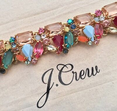 J.Crew GLASS BEAD BRACELET! Sold Out! Nwot New$79.50 BRILLIANT PEONY With Bag!