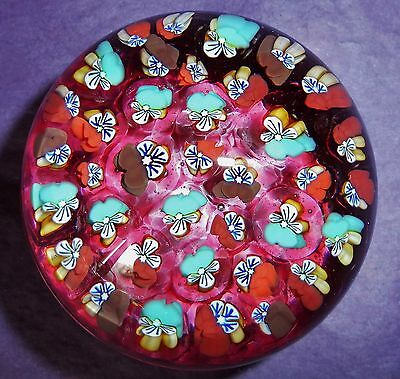 PERTHSHIRE JOHN DEACONS RUBY RED PANSY FLOWERS MILLEFIORI PAPERWEIGHT