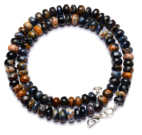"""Natural Gem Namibia Pietersite 7 to 8MM Size Smooth Rondelle Beads Necklace 17"""""""