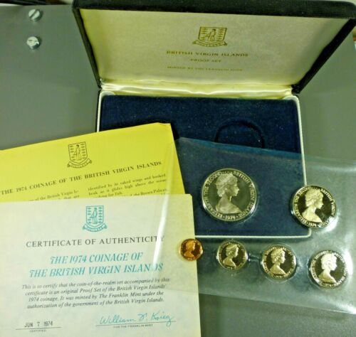 1974 British Virgin Islands 6 Coin Proof Set With Silver Dollar