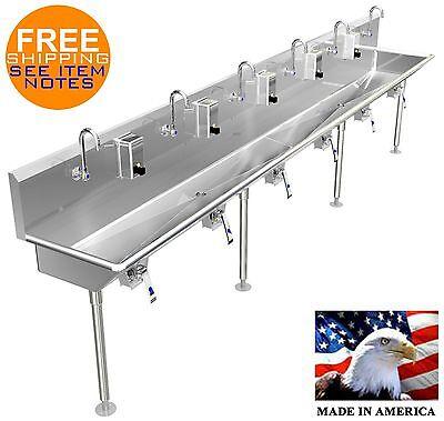 Multi Station 6 User Knee Valve Hand Sink 144 Lavatory 22 Npt Drains 4legs