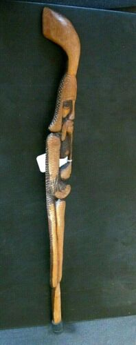 VINTAGE  HAND CARVED smoking man snake cane WALKING hiking STICK 33.75""