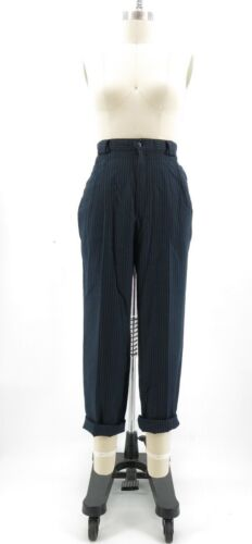 "Vtg Striped High Rise Waisted Pleated Mom Trousers Tapered Leg 29""x27"""
