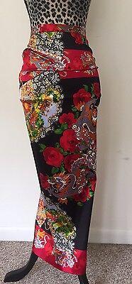 Dolce Gabbana Silk Skirt NWT *GORGEOUS* RARE Floral Red Black w/Blue Dragons 40