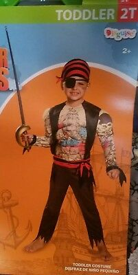 New Toddler Inked Pirate Badass Halloween Costume Muscle Suit 2T, 3 Piece Set](Bad Ass Halloween Costume)