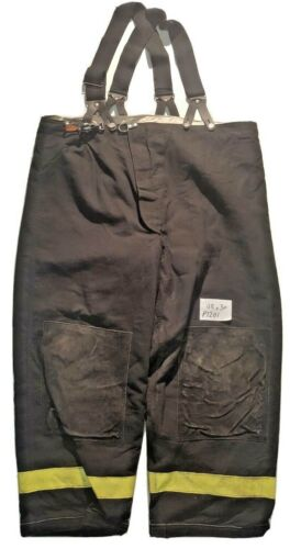 48x30 48R Janesville Lion Black Firefighter Turnout Pants with Suspenders P1201