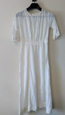 Antique Edwardian Sheer White Cotton Tea Lawn Dress With Lace