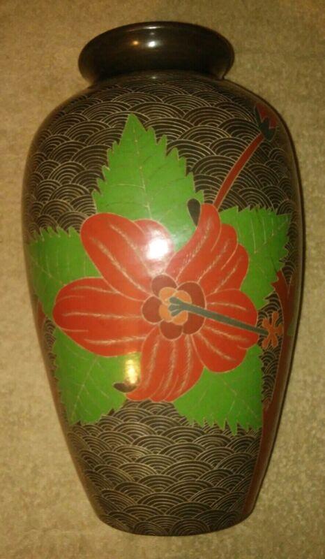 VTG Signed Art Pottery Vase Nicaragua Engraved Floral RARE MCM Felipe G
