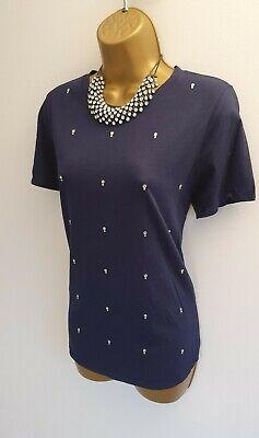 Kersh BNWT Navy Blue Embellished Rhinestone Smart T-shirts Top Blouse M 12