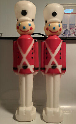 "2 Carolina Enterprises Christmas Blowmold Lighted 30"" Toy Soldiers (no lights)"