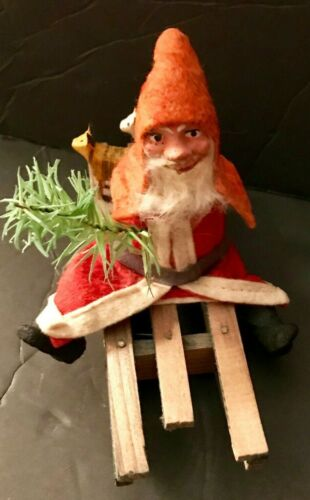 Antique Vintage Santa Candy Container Removable Head Wooden Sled Animals German