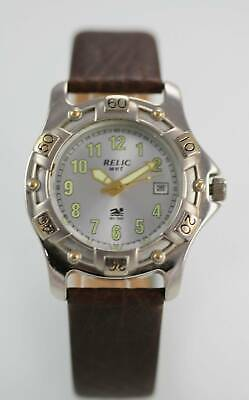 Relic White Mens Silver Gold Stainless Steel Brown Leather Quartz Battery Watch