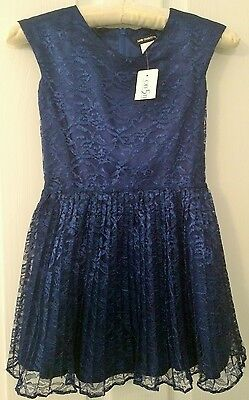 DAVID CHARLES Girls' Pleated Lace Navy Dress - Size 7 - BNWT - Retail $425