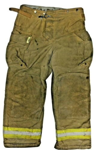 38x30 Securitex Brown Firefighter Turn Out Pants w/ Yellow Tape No Liner PNL-24