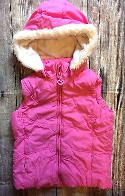 The Childrens Place Girls Hooded Puffer Vest Large 10/12 Pink Sparkle Warm B1