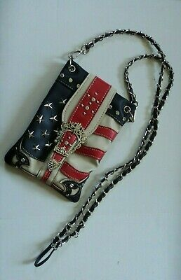 PATRIOTIC FLAG rhinestone star studded purse NEW ! -