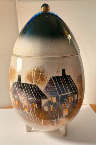 SASCHA BRASTOFF ROOFTOPS COLLECTION MOUNTAIN CABIN SIGNED EGG WITH LID