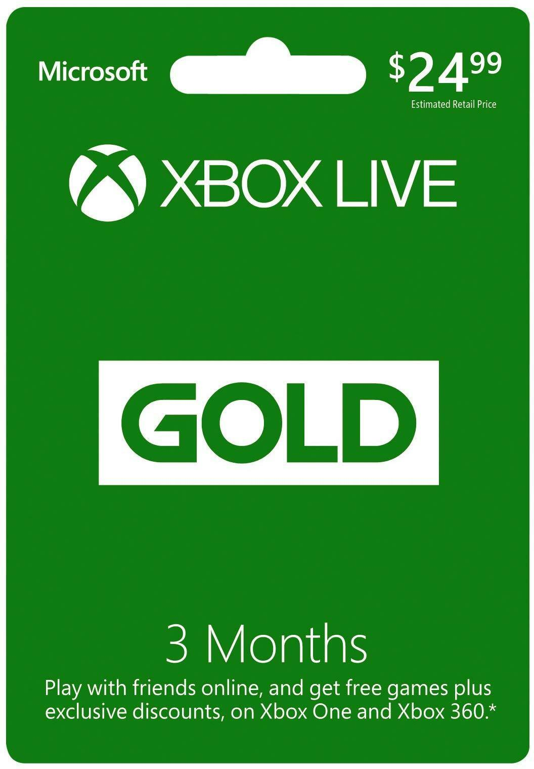 Microsoft Xbox LIVE 3 Month Gold Membership Xbox 360 / XBOX ONE NEW