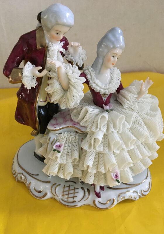 VINTAGE DRESDEN ORIGINAL GERMANY PORCELAIN FIGURINE COUPLE RIBBON DRESS
