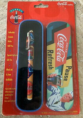 Vintage 1996 Collectible Coca-Cola Coke Ceramic Roller Ball Pen+Gift Tin