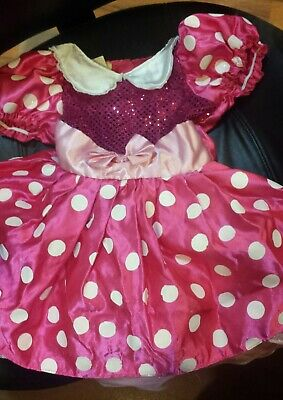 Disney Girl's Mini Mouse Costume Dress-Up Dress Polka Dot Bright Pink Sz 4-6X - Girls Mini Mouse Costume